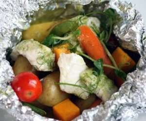 Bilde av Steinbit og gr�nnsaker i pose.