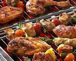 Grillspyd med kylling oppskrift.