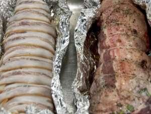 Bilde av Grillet lammestek i bacon.