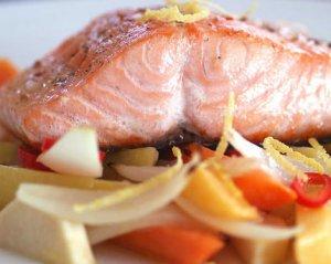 Prøv også Laks med ovnsbakte grønnsaker.