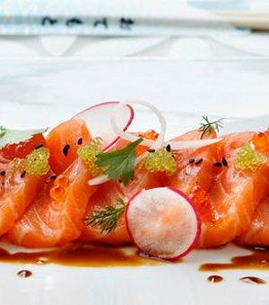 Prøv også Sashimi med laks.