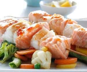 Prøv også Sweet-chili-marinerte fiskespyd med wokgrønnsaker.