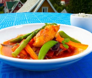Prøv også Fisk i gryte med tomat og chili.