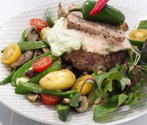 Prøv også Trylleburger med rosa og grønn saus.