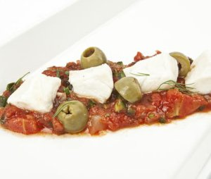 Pr�v ogs� Ceviche av sei med salsa.