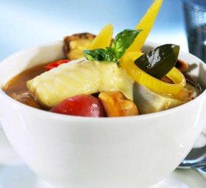 Prøv også Bouillabaisse med steinbit, blåskjell og reker.