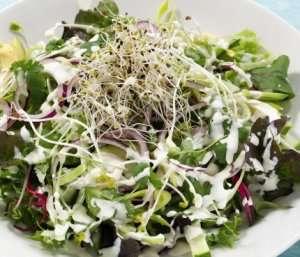 Prøv også Grønn salat med avokado, sukkererter og pæredressing.