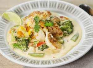 Prøv også Stekt torsk med eksotisk grønnsaksstuing.