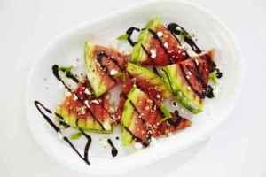 Prøv også Grillet vannmelon med sesamfrø og balsamico.