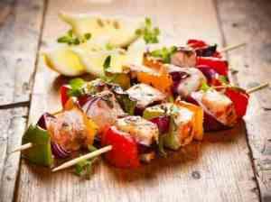Prøv også Grillspyd med laks og grønnsaker.