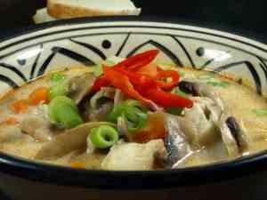 Prøv også Fiskesuppe av sei med kokosmelk og sopp.