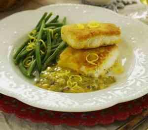 Prøv også Panert kveite med sennepssaus og olivenbrød.