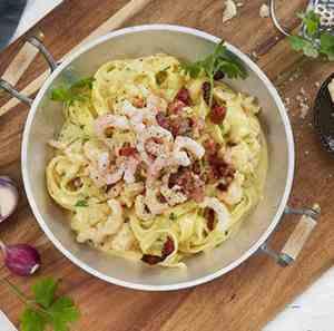 Prøv også Pasta carbonara med reker 2.