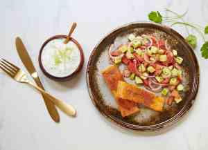 Prøv også Laks med koriandertzatziki og tomatsalat.