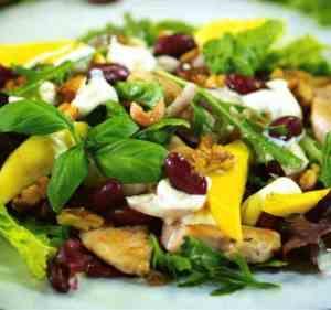 Dagens oppskrift er Middagssalat med mango og kylling.
