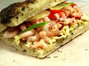 Prøv også Foccacia med spicy rekesalat.
