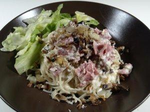 Prøv også Spaghetti med fløtesaus, skinke og sopp.