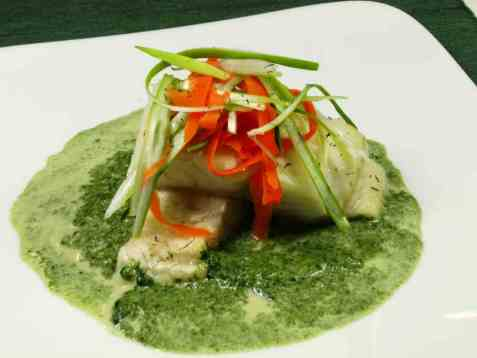 Bresert steinbit med grønn saus oppskrift.