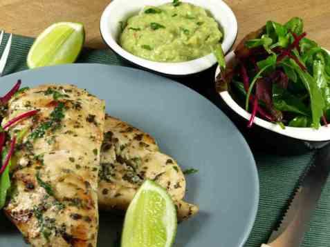 Dagens oppskrift er Grillet korianderkylling med guacamole.