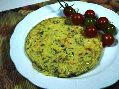 Omelett med løk oppskrift.