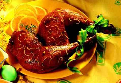 Appelsinglaserte kalkunlår med appelsinsaus oppskrift.