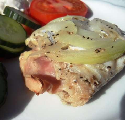 Fisk med ost og skinke oppskrift.