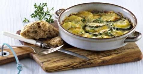 Poteter og squash med ost og urter oppskrift.