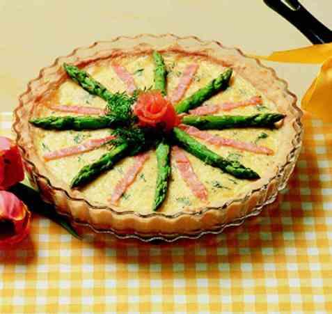 Laks- og aspargespai oppskrift.