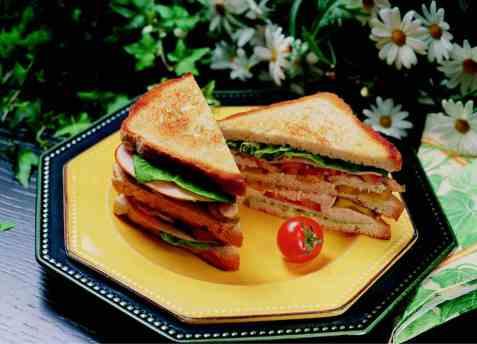 Kylling club sandwich oppskrift.
