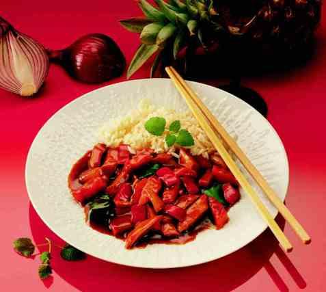 Kinesisk sur-søt gryte oppskrift.