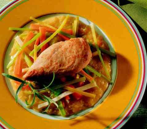 Kyllingfilet med rotgrønnsaker og ingefærsaus oppskrift.