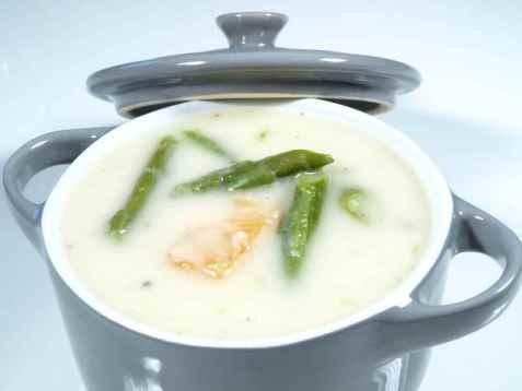 Aspargessuppe med laks oppskrift.