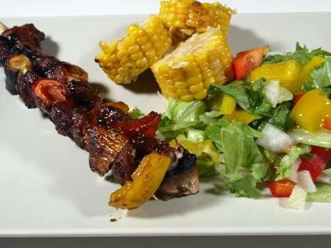 Grillspyd med svine og lammekjøtt oppskrift.