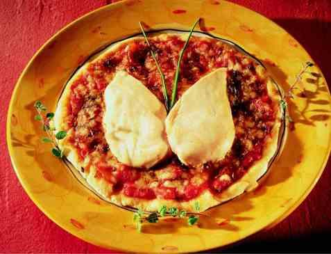 Porsjonspizza med sommerfugl oppskrift.