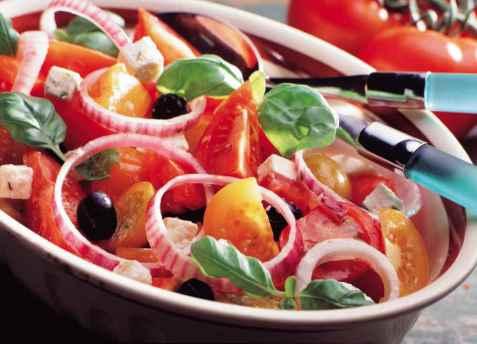 Sydlandsk tomatsalat oppskrift.