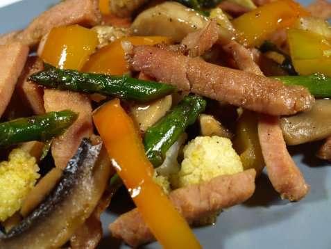 Grønnsakwok m/svinekjøtt oppskrift.