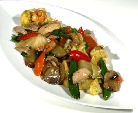Chop suey med kylling oppskrift.