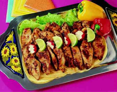 Fajitas de pollo (tortillas med kyllingfyll) oppskrift.