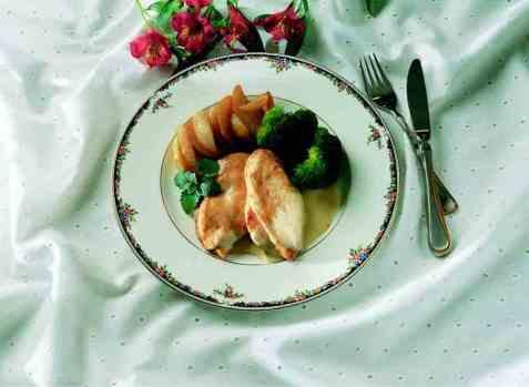 Kyllingfilet med brokkoli og potetbåter oppskrift.
