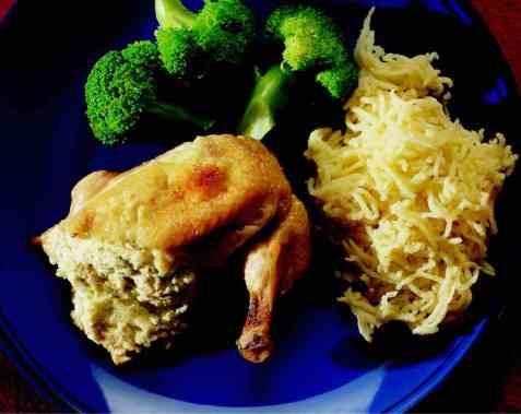 Ostefylte kyllingbryst oppskrift.