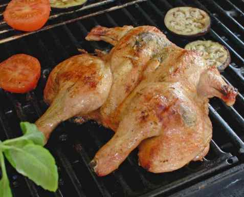 Utbrettet kylling på grillen oppskrift.