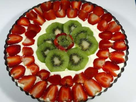 Nøttebunn med bær oppskrift.