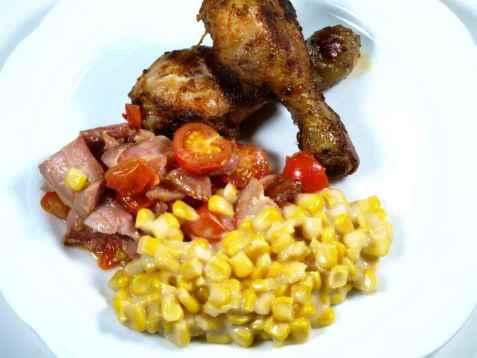 Kyllinglår med stuet mais oppskrift.
