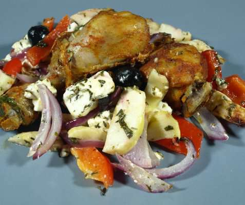 Epler og kylling fra ovn oppskrift.