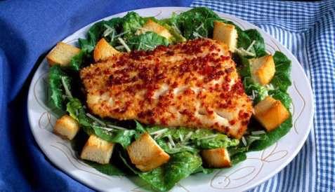 Ovnsbakt torsk med Cæsarsalat oppskrift.