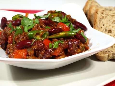 Chili con carne med oksekjøtt oppskrift.