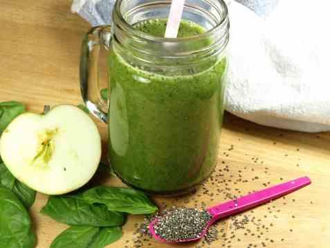 Grønn smoothie med spinat oppskrift.