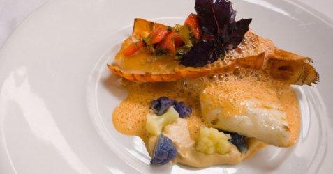 Grillet piggvar og lettrøkt sjøkreps med blomkålkrem og sjøkrepssitrongresskum oppskrift.
