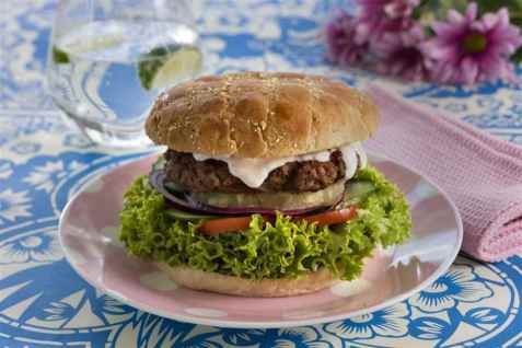 Grillet hawaiiburger oppskrift.
