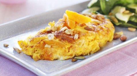 Omelett med aprikos og chèvre oppskrift.